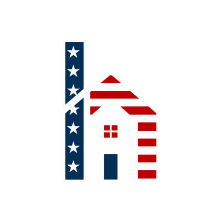 American h letter of house Logo Design