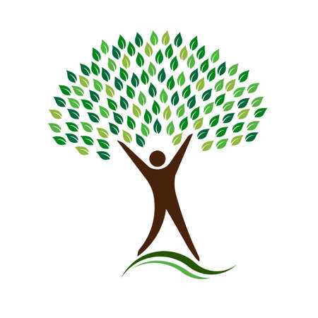 Man Eco Friendly Tree Logo Illustration