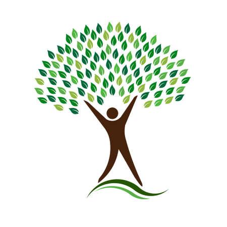 Man Eco Friendly Tree Logo Illustration