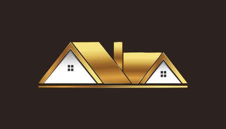 prestige: Golden Houses For Sale Logo Illustration