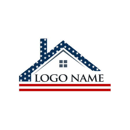 flag: American Roof Construction Logo Illustration