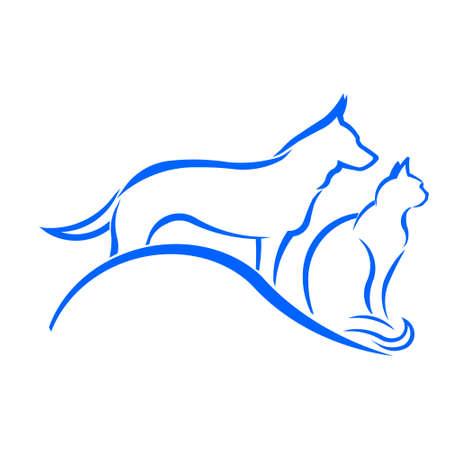 cross: Pet Shop Dog and Cat Logo Illustration