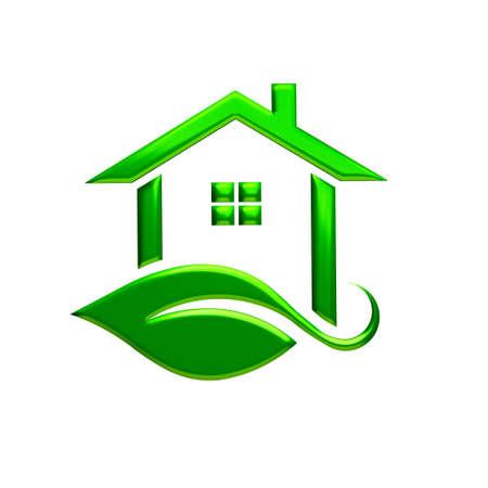 house for sale: Green Eco House Logo. 3D Rendering Illustration
