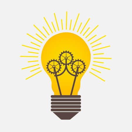 歯車のロゴが電球光のアイデア