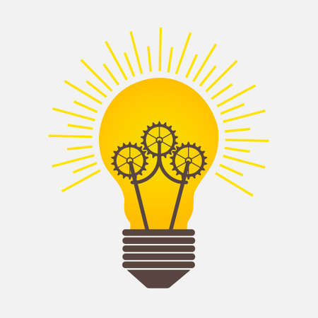 Bulb Light Ideas with Gears Logo