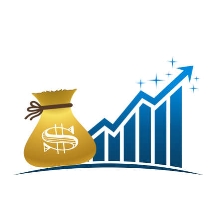 paying: Golden Money Bag with Profitable Finance Bar Graphic Illustration