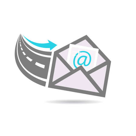 contact: Email in from the Internet Highway Logo Illustration