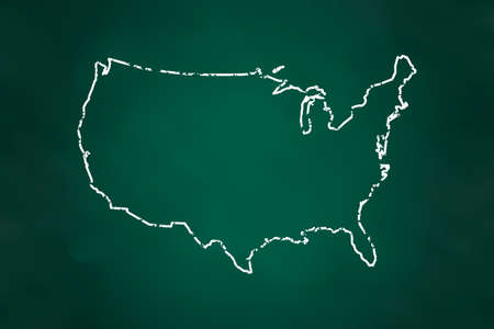 USA map Border Chalk Style