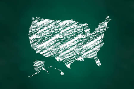 aged: United States Map Chalk Style