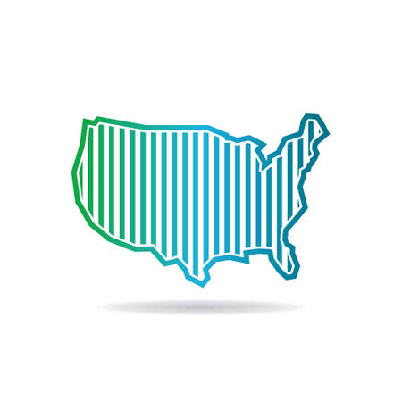 digital: USA Map Vertical Tech Stripes Logo