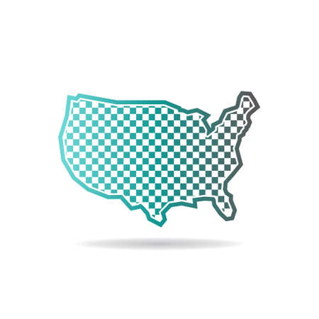 car speed: Checkered United States Map Logo Illustration