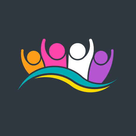 People Group Party Wave Logo Design