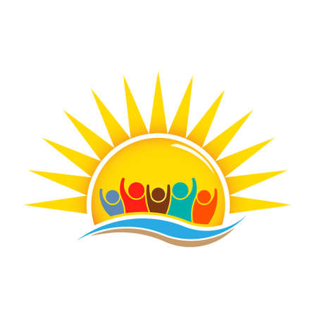 Mensen in het Sunny Summer Logo Design Stock Illustratie