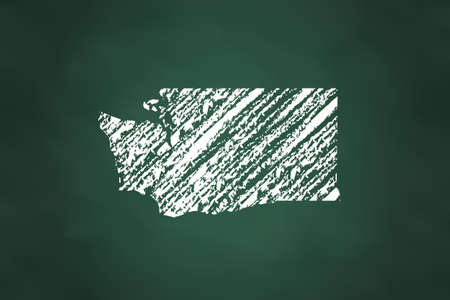 Washington State Map Chalk Style