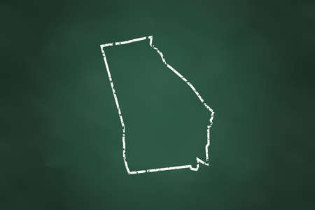 georgia: Georgia State Borderline Map Chalk Style