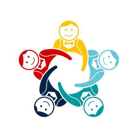 Boys Teamwork Group of Five. Vector Logo Design