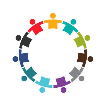 Équipe de onze personnes dans un Round.Logo Design Logo
