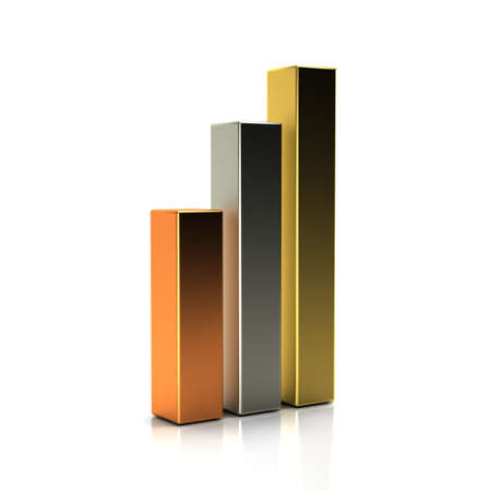 office building: Golden, Silver and Bronze Finance Bars. 3D Render Illustration