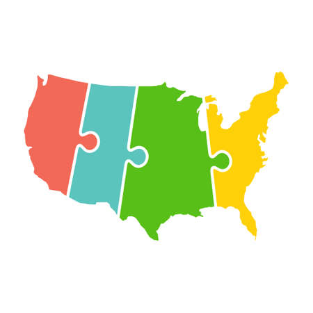 United States Map Time Zones Puzzle Vectores