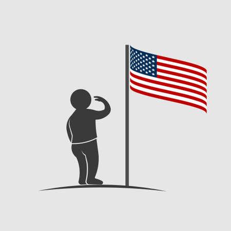 People saluting American flag.