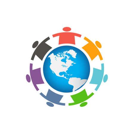 business people: Children Around the World Logo Illustration