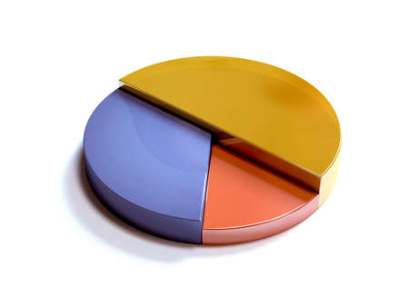 Golden, Silver, Bronze Pie Chart. 3D Rendering Illustration