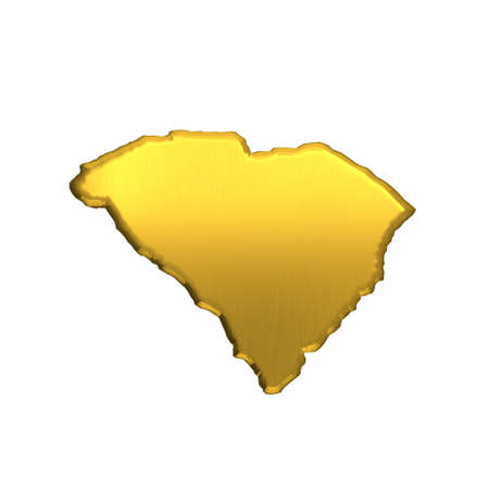 South Carolina golden map. 3D image design