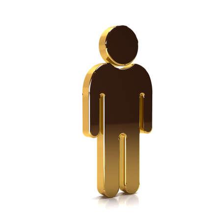 Golden Man of the Year. 3D Rendering Illustration