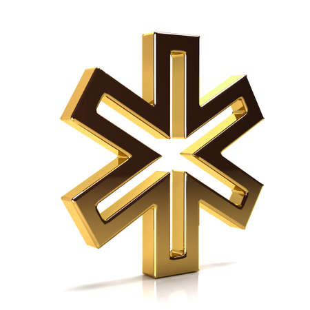 Golden Star of Life. 3D Render Illustration