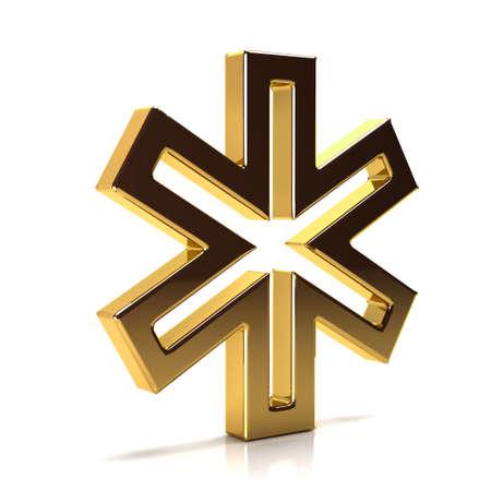 Golden Star of Life. 3D Render Illustration