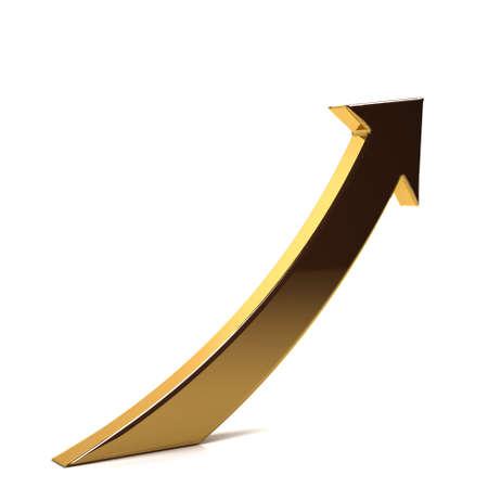 Golden Business Index Arrow Up. 3D Render Illustration