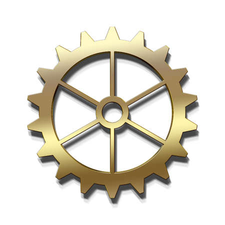 Golden Gear icon. 3D Render Illustration