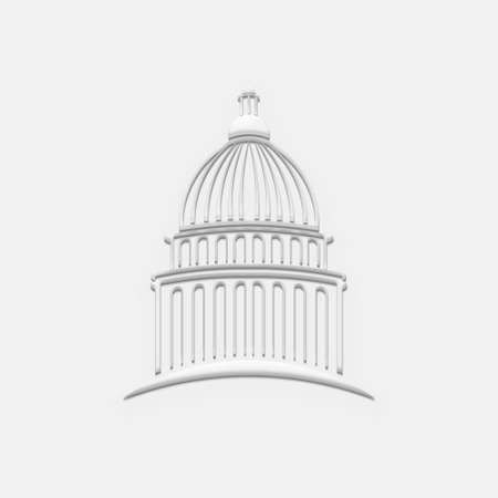White Capitol Building. 3D Render Illustration Archivio Fotografico