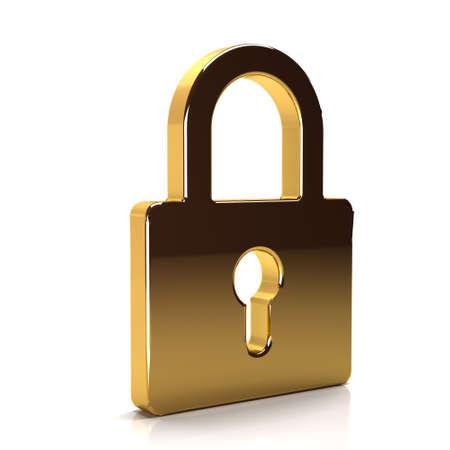 lockout: Golden Padlock Security Device. 3D Rendering Illustration