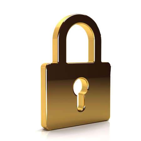 Golden Padlock Security Device. 3D Rendering Illustration