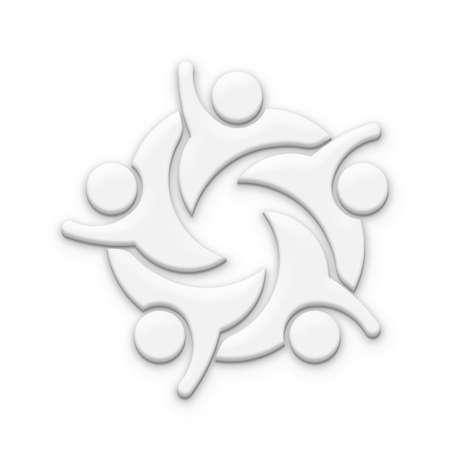 Winner Team in White Color. 3D Rendering Illustration Stock Photo