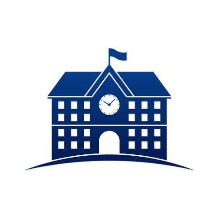 School Building Icon Illustration