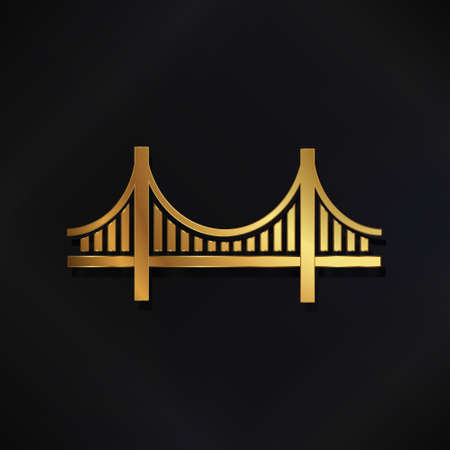 Golden San Francisco Bridge vector logo image