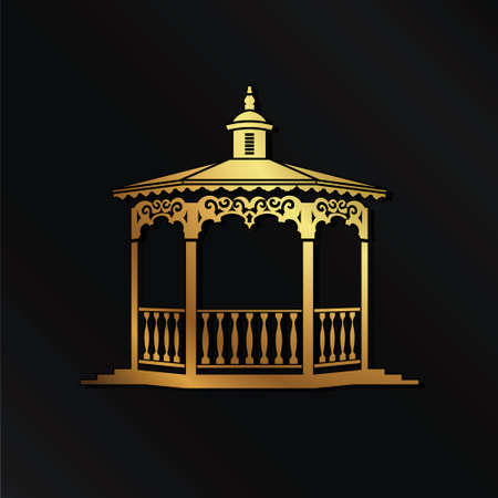 Golden Wedding gazebo logo image Illustration