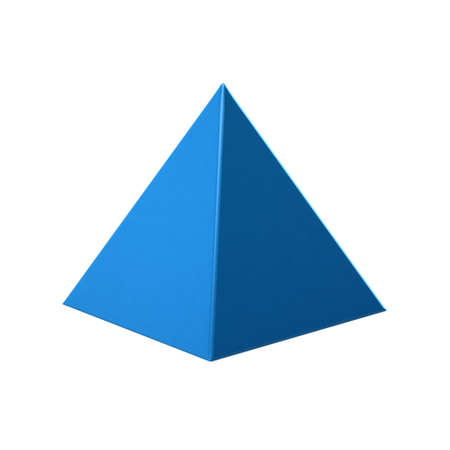 Blue Pyramid on white background. 3D Rendering Illustration