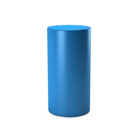 Blue Cylinder in white background. 3D rendering Illustration Archivio Fotografico