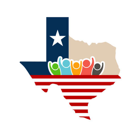Texas People Support Logo Illustration Vettoriali