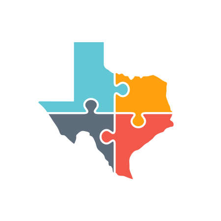 Texas Map Rebuild Logo Illustration