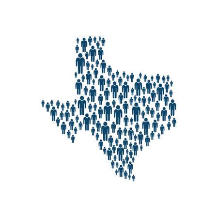 Concept of Texas Population in Map. Vector Design