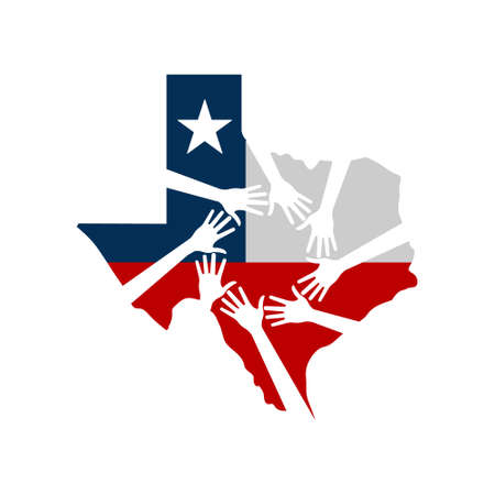 Hands Helping Texas Vector Illustration