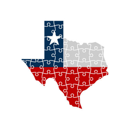 Concept of Texas Rebuilding Mode. Jigsaw Map