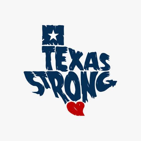Texas Strong Map Logo Grunge Design