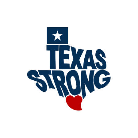Texas Strong Map Logo Flat Design