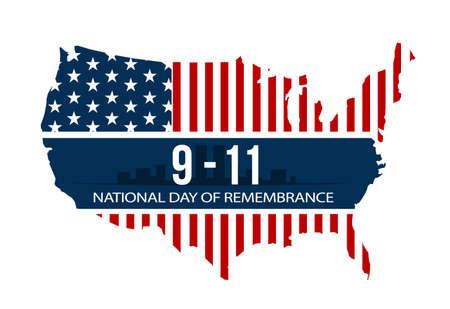 911 현충일, 2001 년 9 월 11 일, 벡터 일러스트 레이 션.