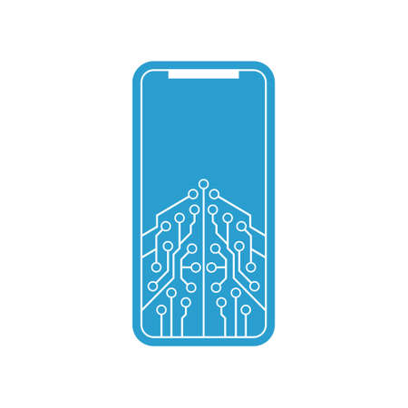 A smartphone encryption technology vector illustration on white background.